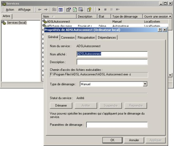 adsl autoconnect pour windows 7